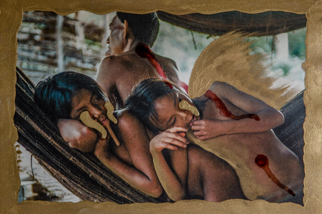 Collages from the Amazon- GOLD, BLOOD, EARTH, LEAVES, FIRE